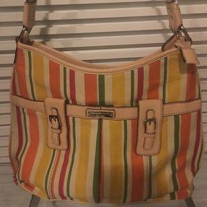 Bold Citrus stripe shoulder bag with tan trim